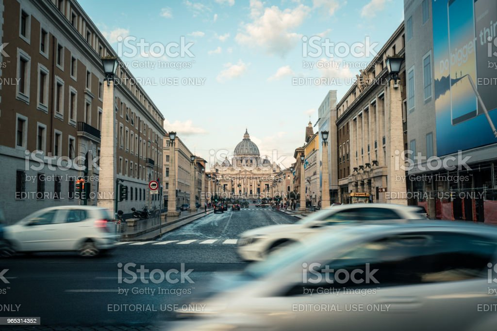 Street in front of St. Peter's Square in Vatican. zbiór zdjęć royalty-free