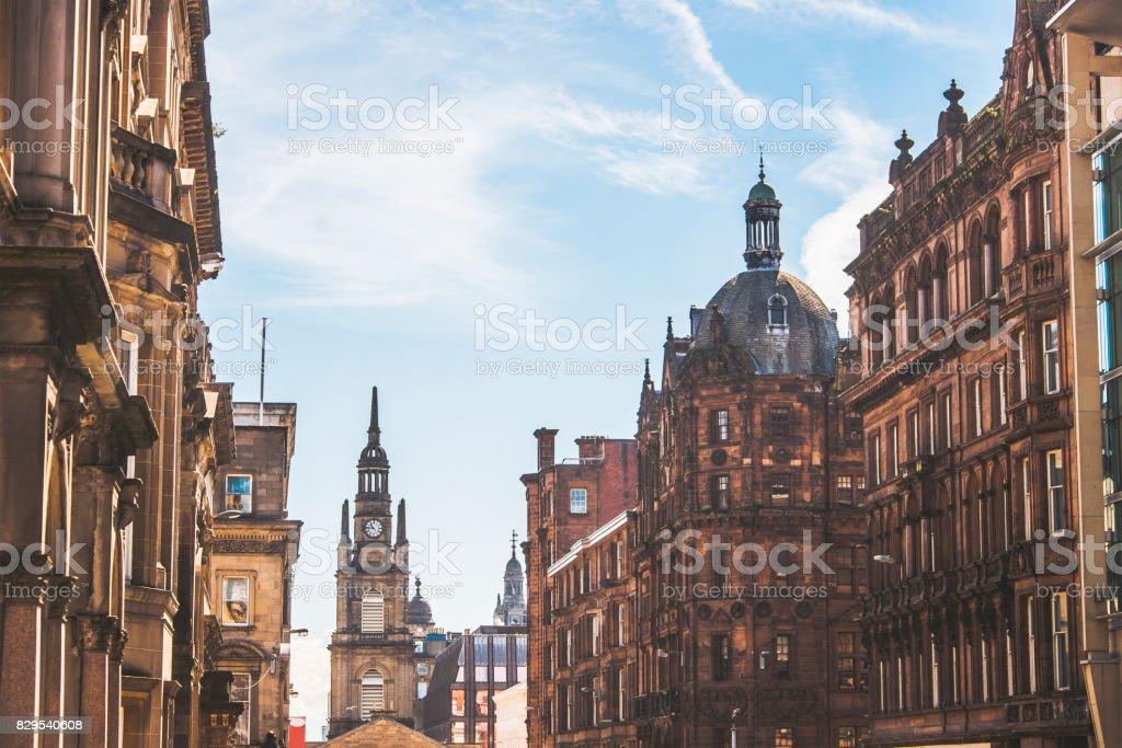 Street in Glasgow stock photo