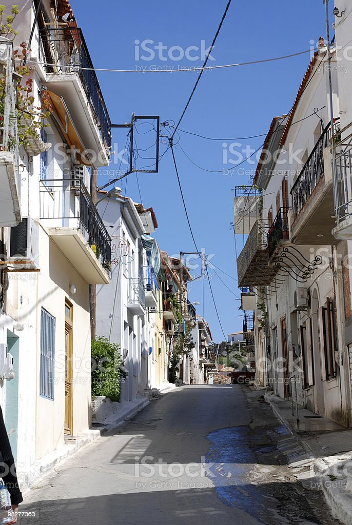 street in greek village royalty-free stock photo