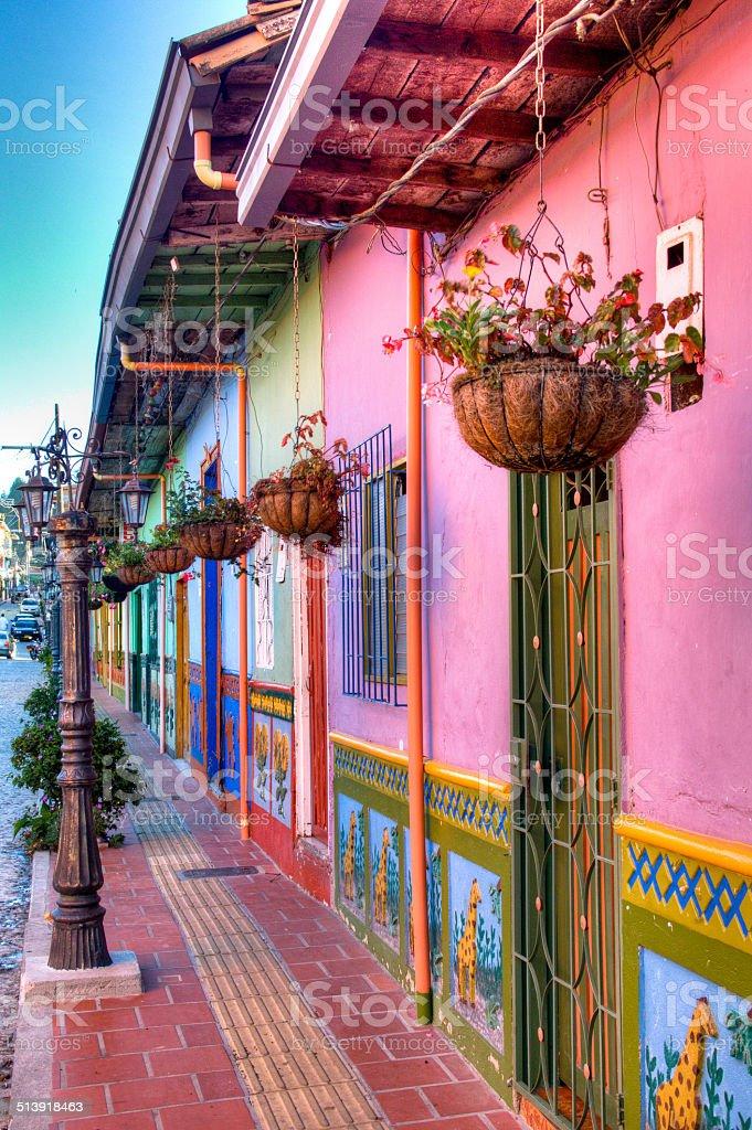 Street in Guatape stock photo
