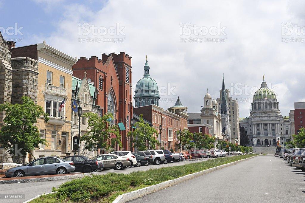 Street in Harrisburg stock photo