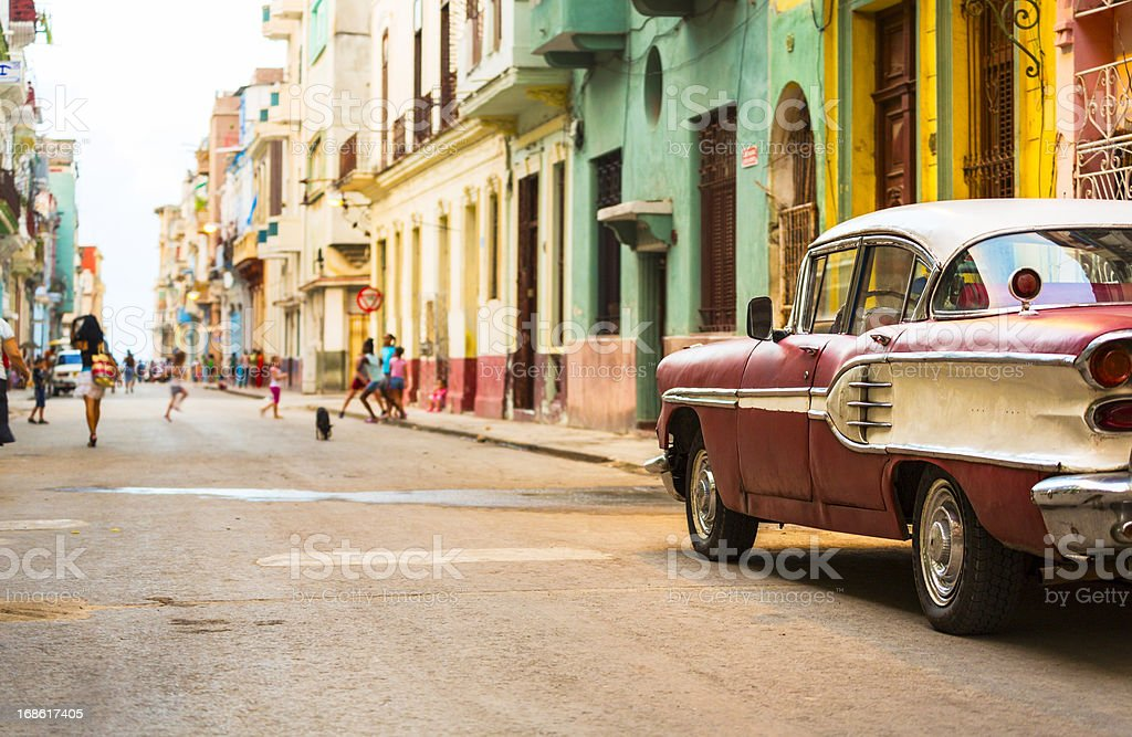 Street in Havana, Cuba with vitage american car stock photo