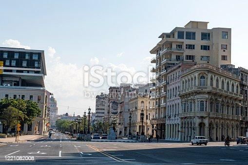 Main street in Havana downtown. paseo del prado, de marti