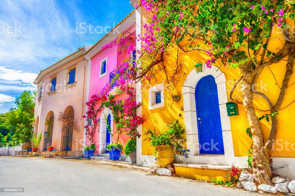 Street in Kefalonia, Greece stock photo