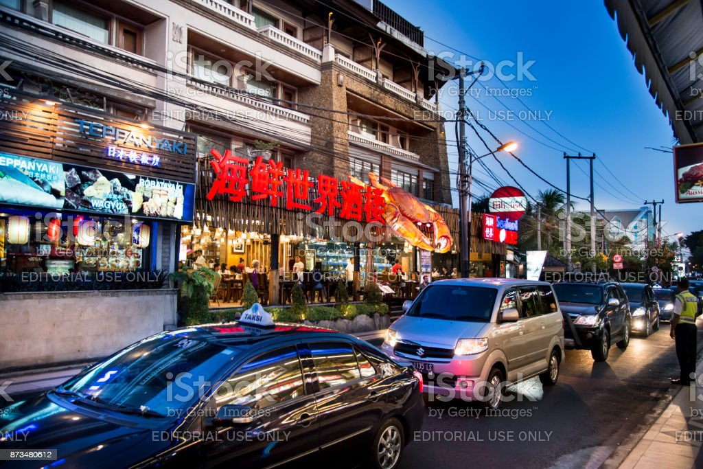 Street in Kuta stock photo