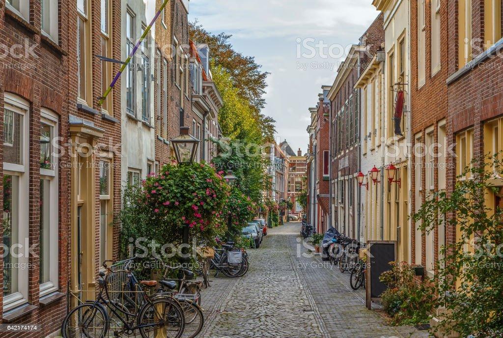 Street in Leiden downtown, Netherlands stock photo