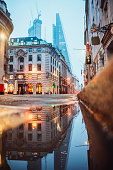 Street in London and reflection