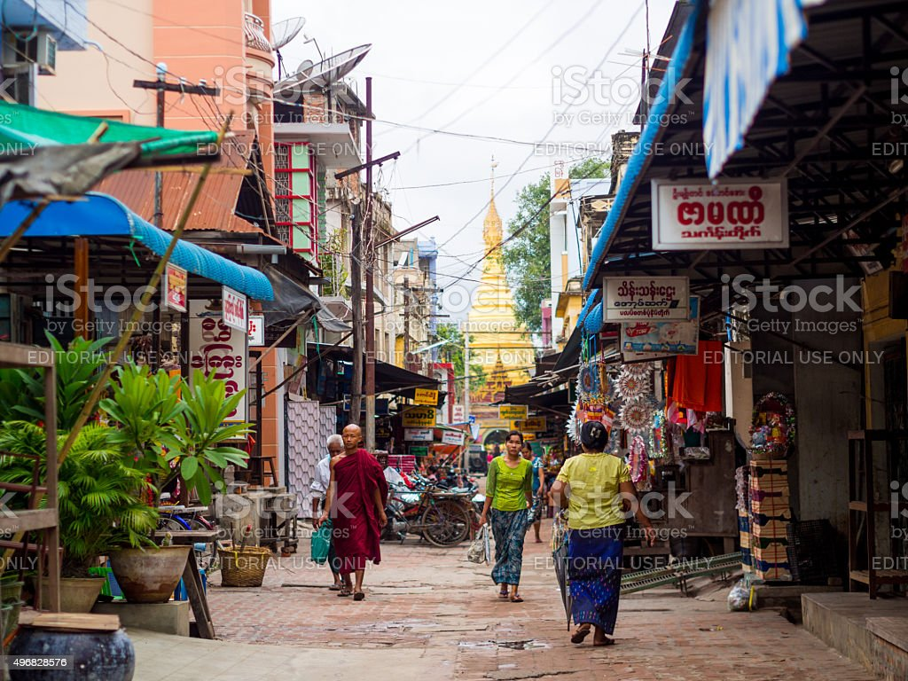 Street in Mandalay, Myanmar stock photo
