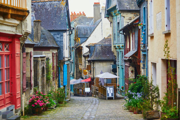 street in medieval town of Vitre, one of the most popular tourist attractions in Brittany, France stock photo