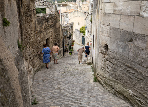 Street in medieval village of les Baux. Les Baux is now given over entirely to the tourist trade, relying on a reputation as one of the most picturesque villages in France