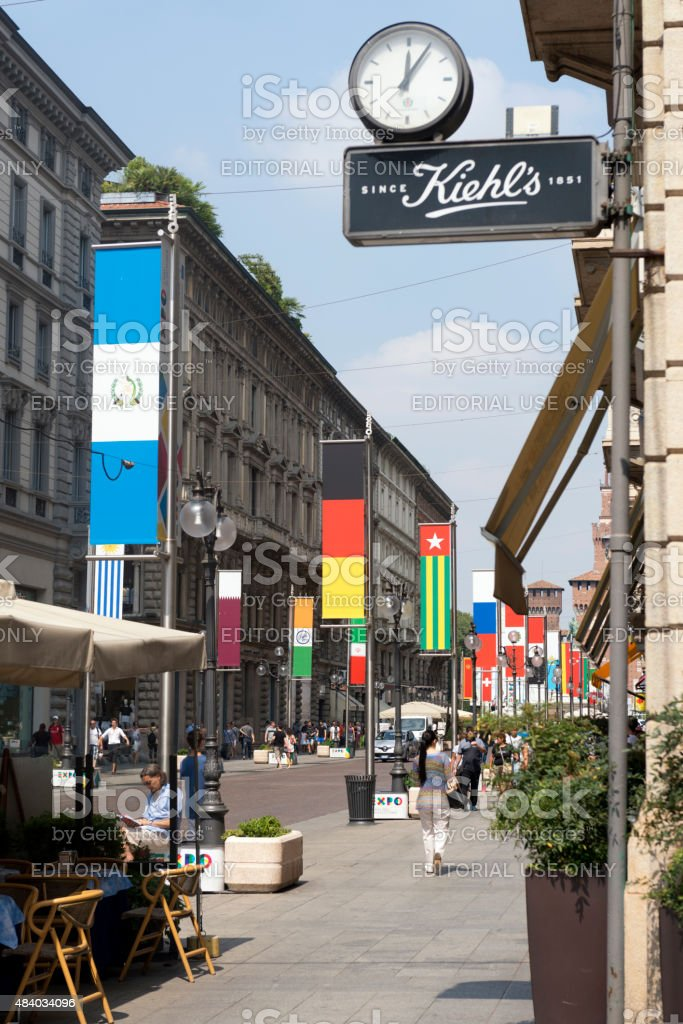 Street in Milan during EXPO 2015 stock photo