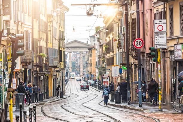 Street in Milan stock photo
