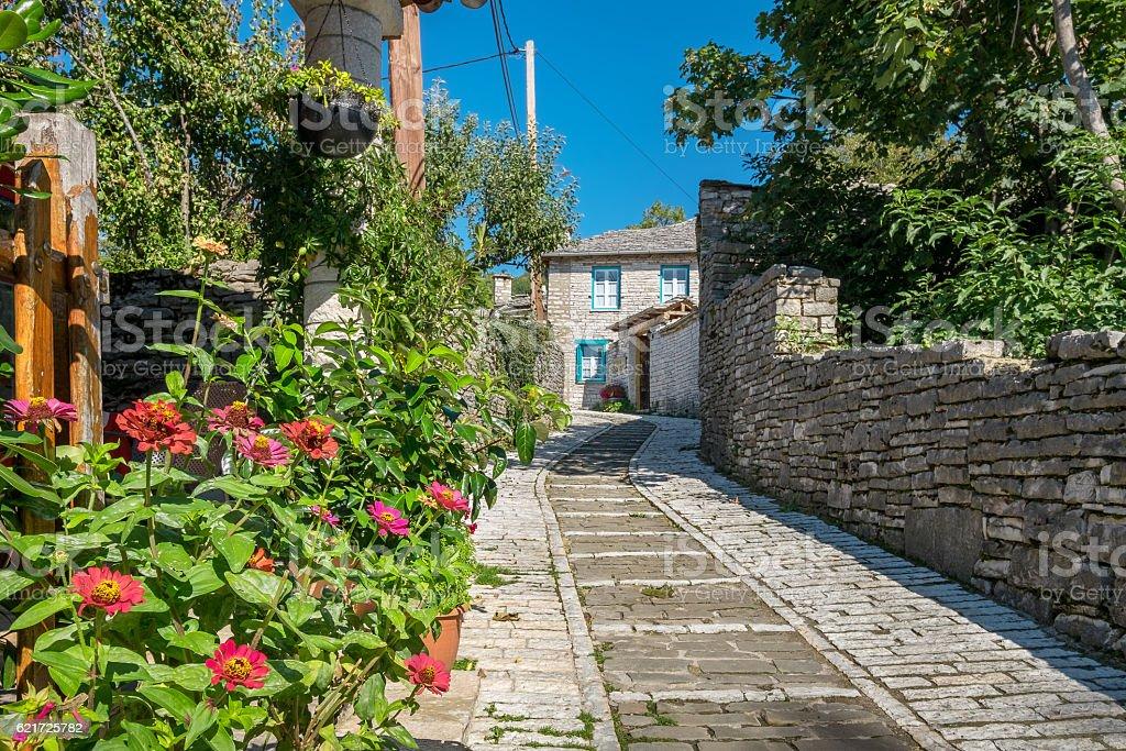 Street in Monodendri village. Zagoria, Greece stock photo