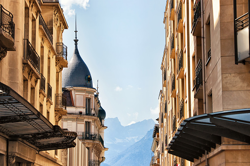 Street in Montreux town on Geneva Lake, Swiss Riviera.
