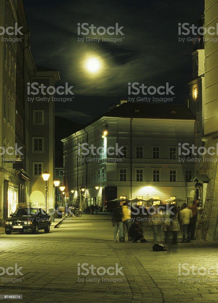Street in moonlight royalty-free stock photo