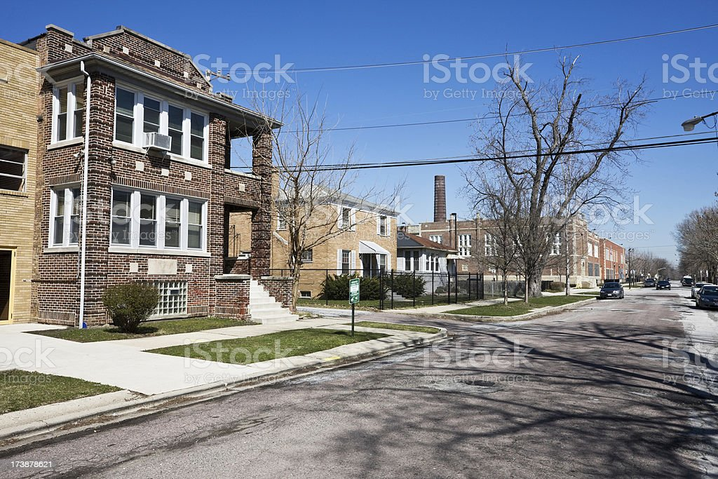 Street in Morgan Park Chicago royalty-free stock photo