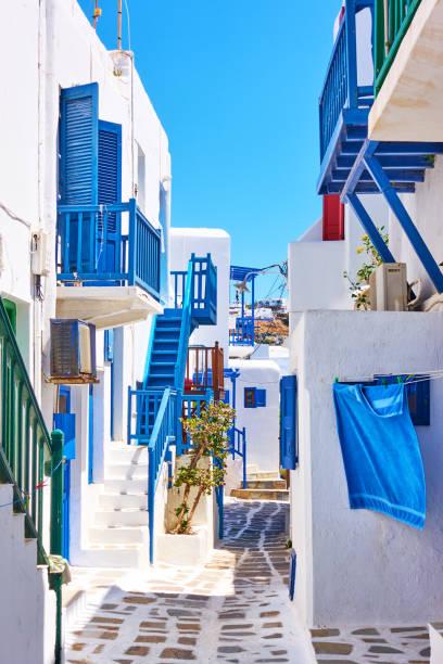 Street in Mykonos stock photo