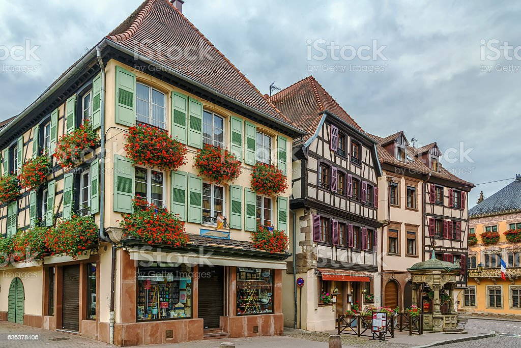 Street in Obermai, Alsace, France stock photo