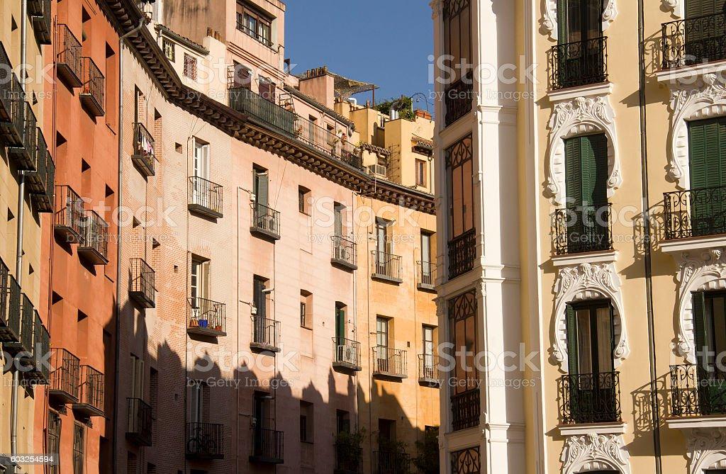 Street in old Madrid, Spain stock photo