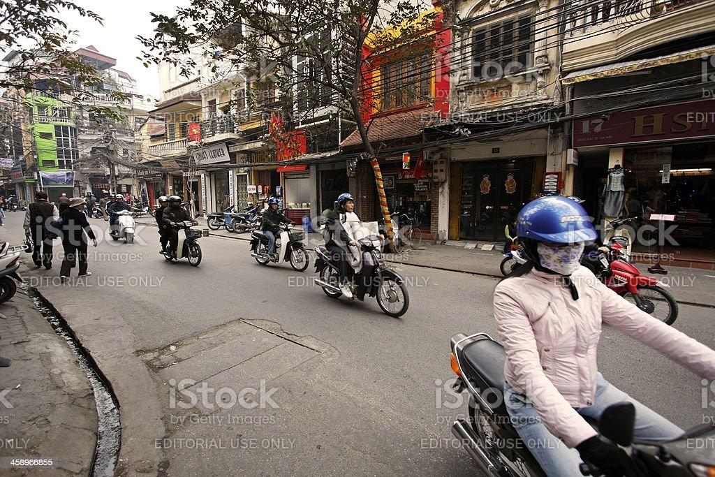 Street in Old Quarter of Hanoi royalty-free stock photo