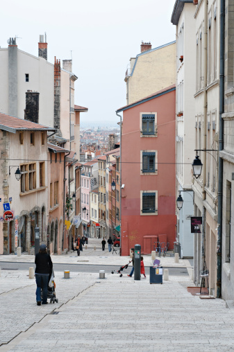 Street In Old Quarter Of Lyon Stock Photo - Download Image Now