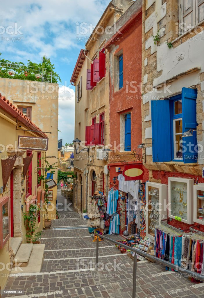 Street in old town Chania, Crete island, Greece stock photo