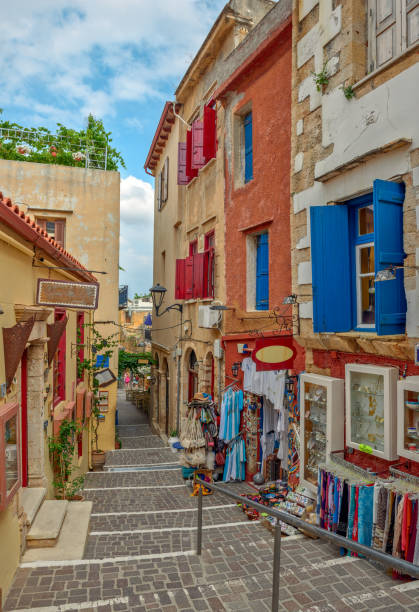 Street in old town Chania, Crete island, Greece stock photo