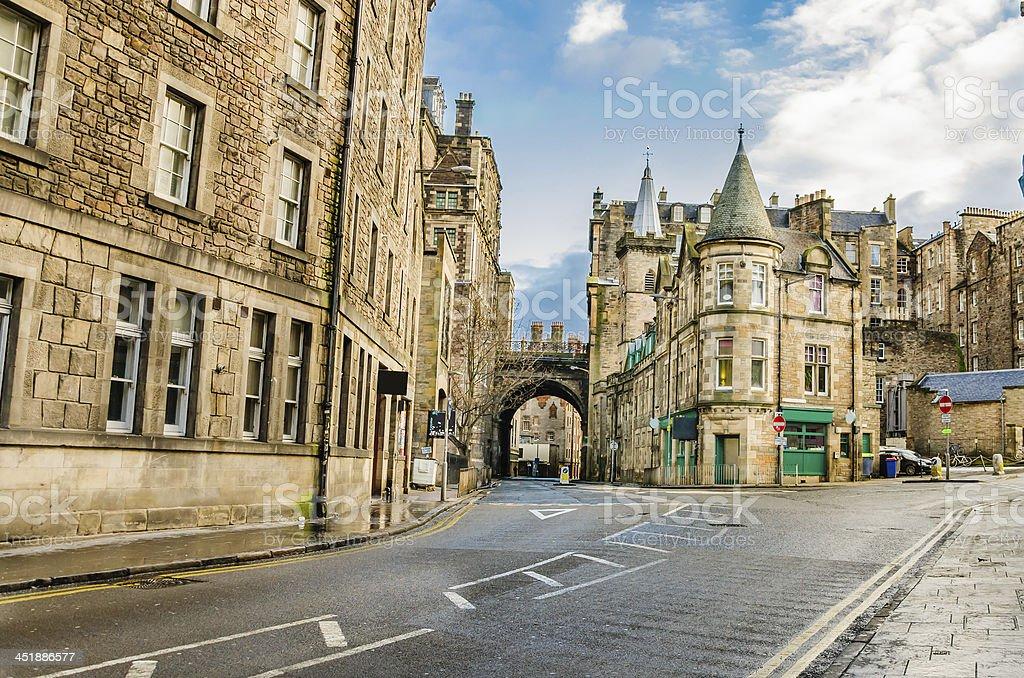 Street in Old Town Edinburgh stock photo