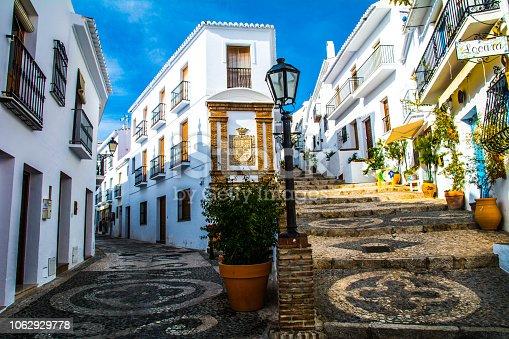street in old town of frigiliana spain