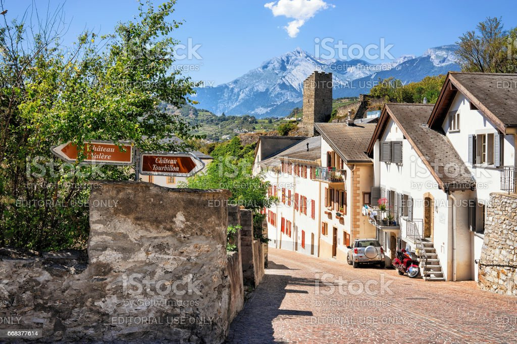 Street in old town of Sion Valais Switzerland stock photo