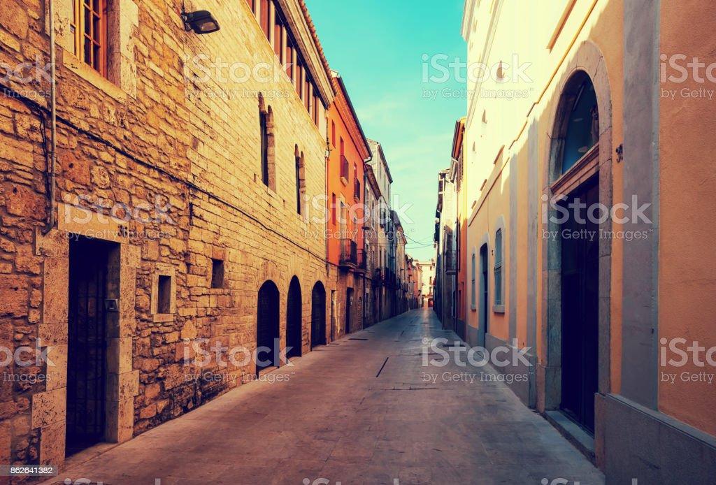 street in ordinary Catalan town. Banyoles stock photo
