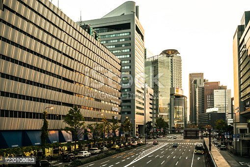 Empty Street in Osaka, Japan in the Morning