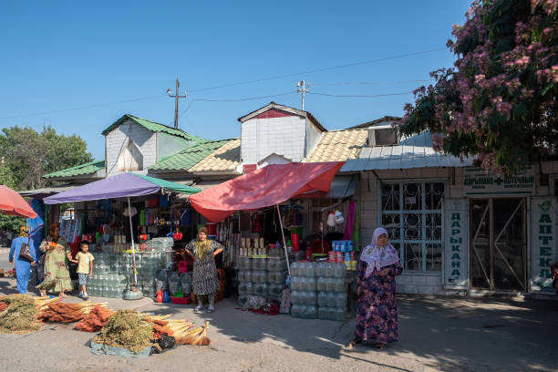 (Editorial use only) Street in Osh city, Kyrgyzstan. stock photo