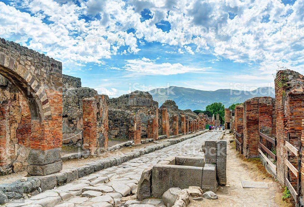 Street in Pompeii, Italy stock photo