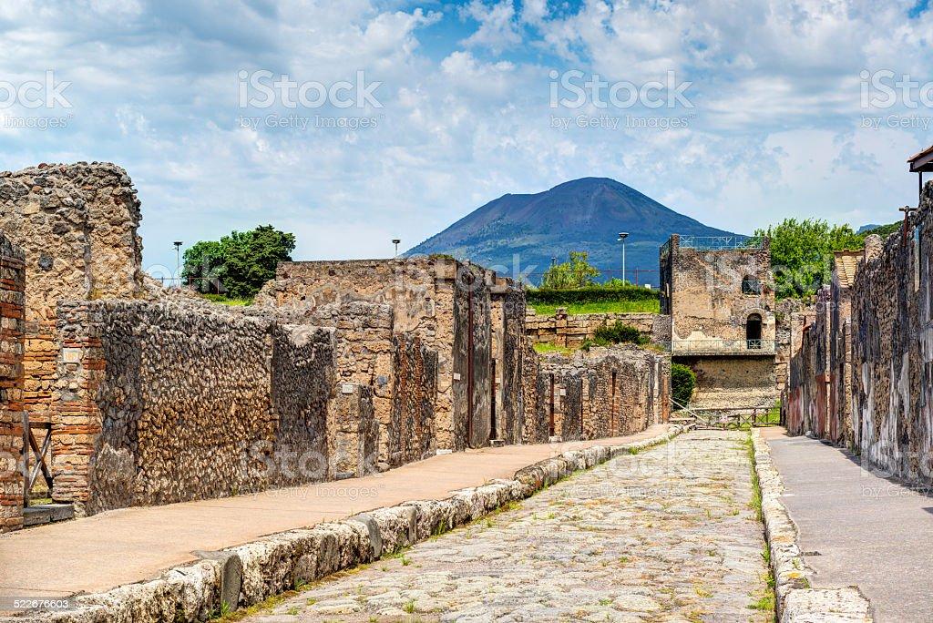 Street in Pompeii overlooking the Vesuvius, Italy stock photo