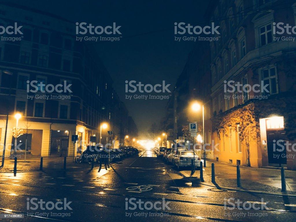 street in prenzlauer berg at night stock photo