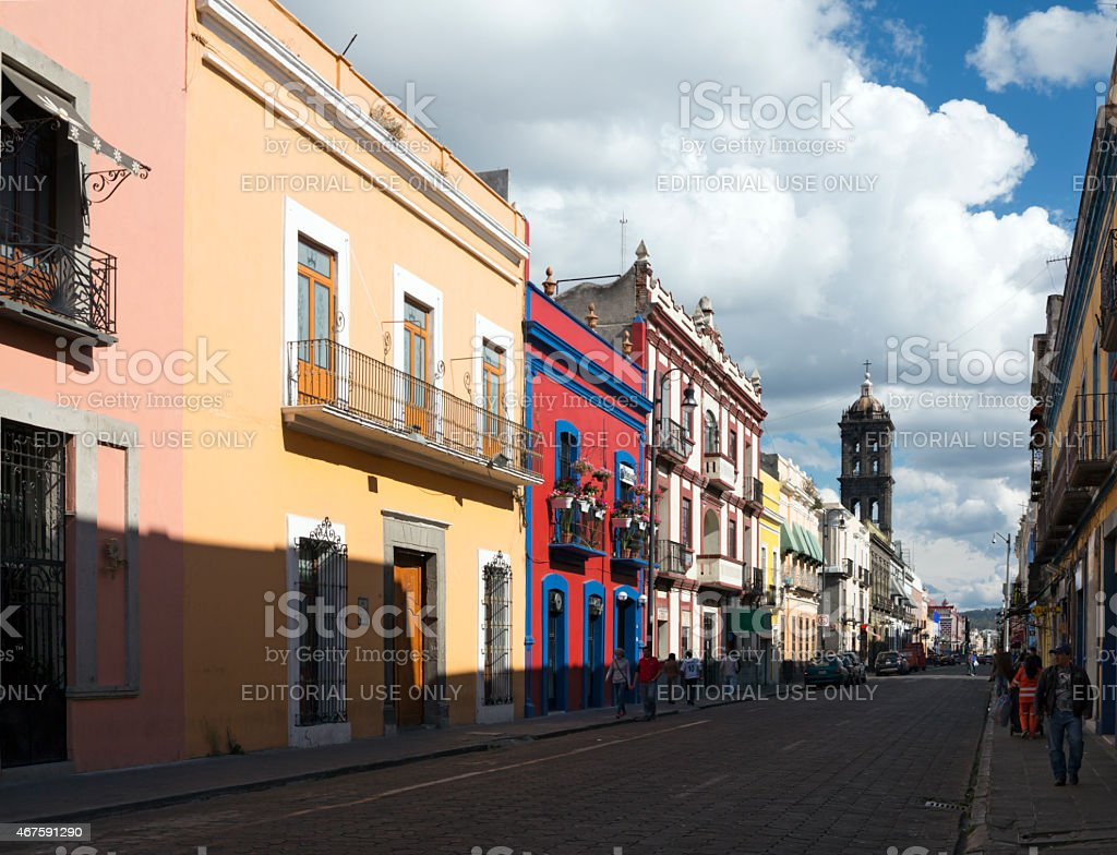 Street in Puebla in Mexico stock photo