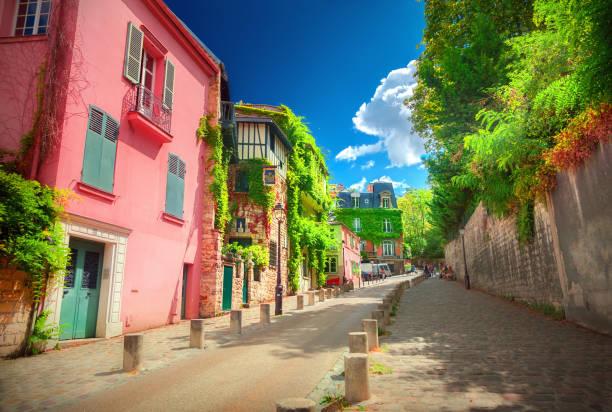 Street in quarter Montmartre in Paris, France. stock photo