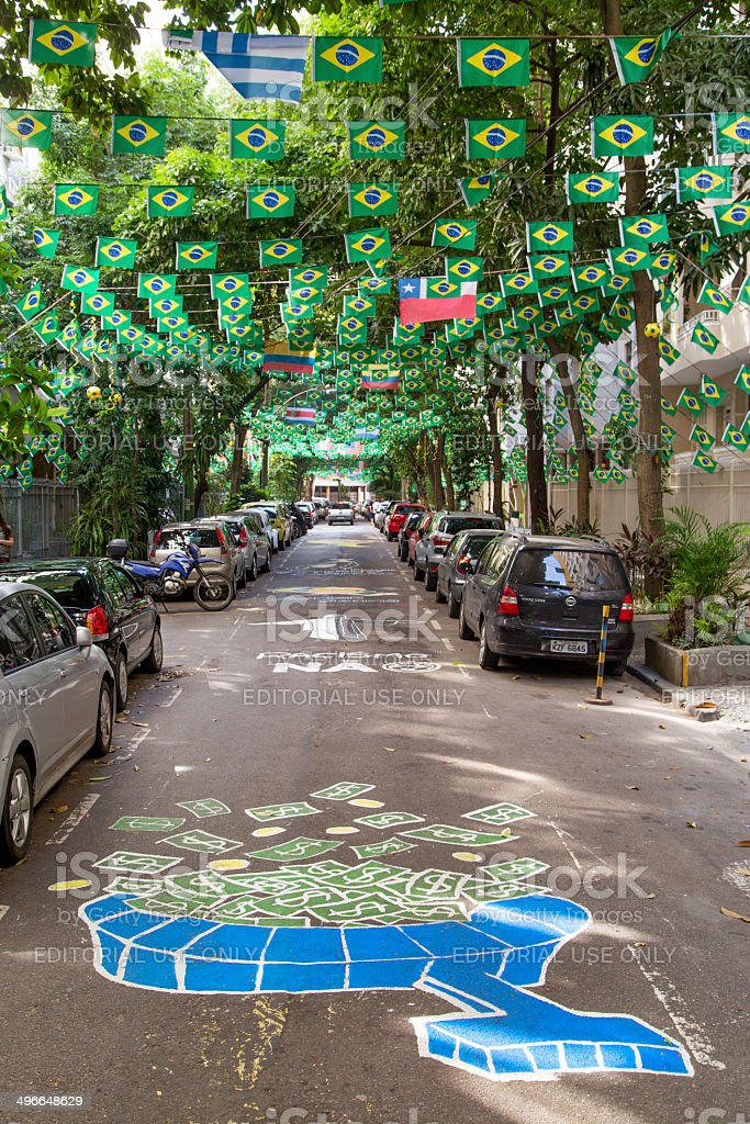 Street in Rio decorated for the World Cup 2014 stock photo