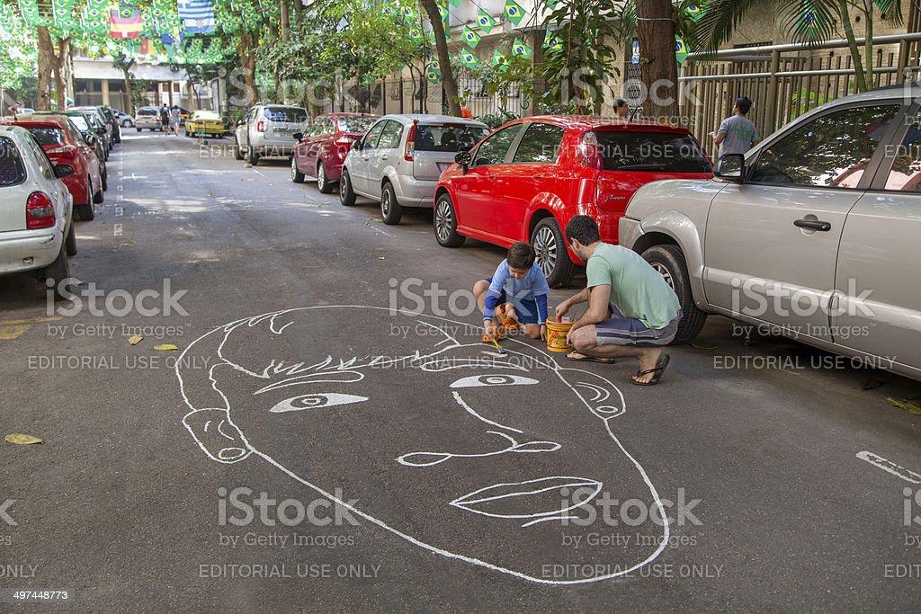 Street No Rio decorados para a Copa do Mundo de 2014 - Foto de stock de Amarelo royalty-free
