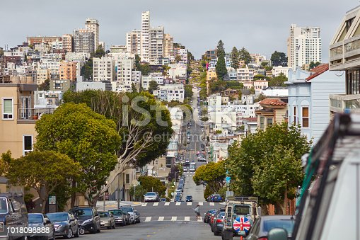 istock Street in San-Francisco with Lombard street in the background 1018098888