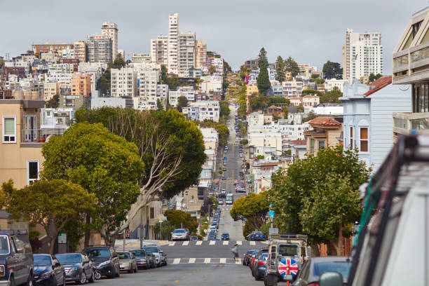 Street in San-Francisco with Lombard street in the background stock photo