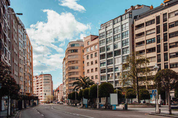 Street in Santander, Spain An empty street in the city centre of Santander, Spain. santander spain stock pictures, royalty-free photos & images