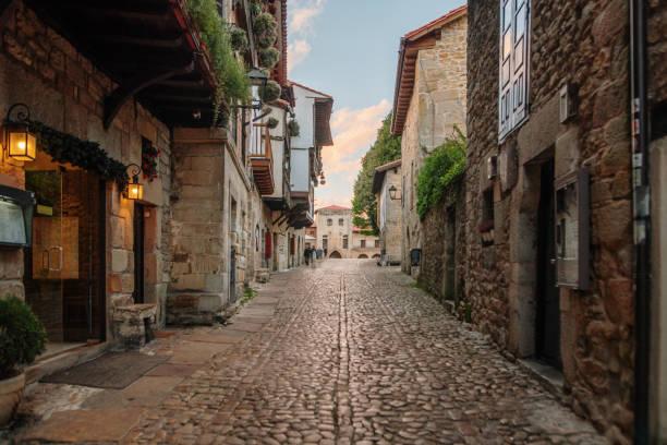 Street in Santillana del Mar, Cantabria, Spain stock photo