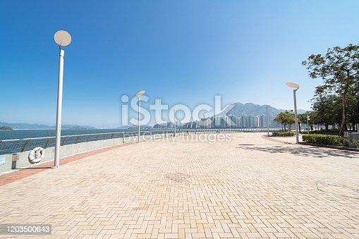 Street in seaside promenade in Hong Kong city