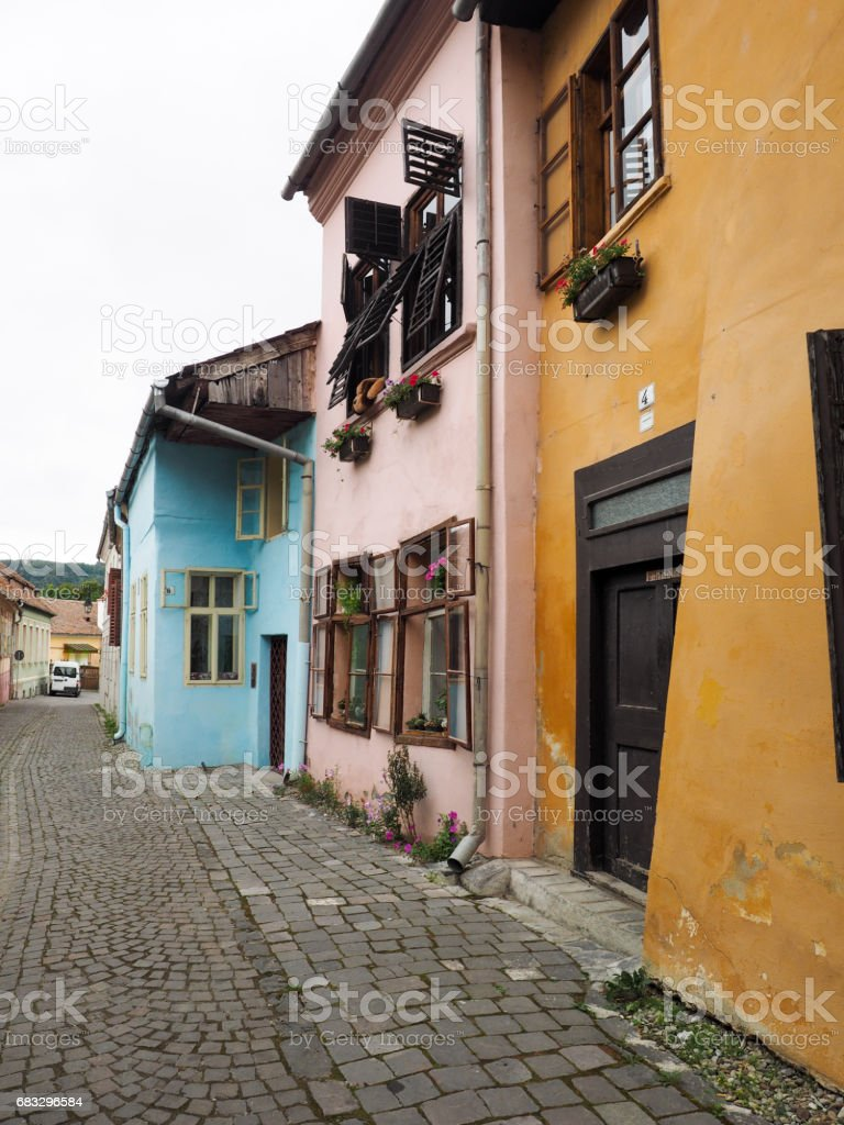 Street in Sighisoara citadel stock photo