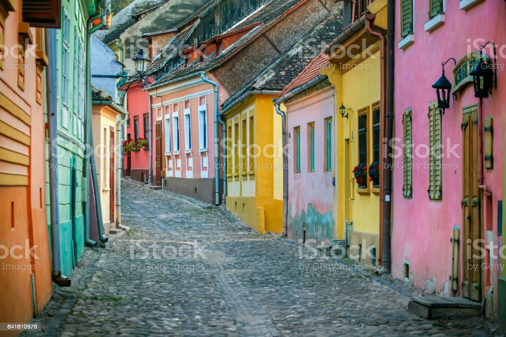 Street in Sighisoara stock photo
