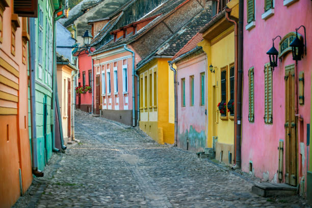 street in sighisoara - romania stock photos and pictures
