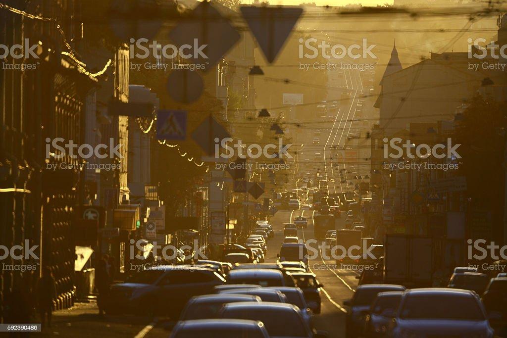 street in smog stock photo