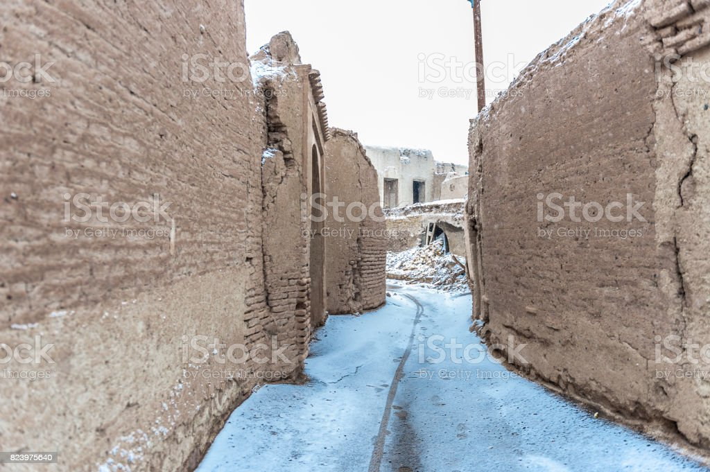 Street in snow during the winter n Iran stock photo